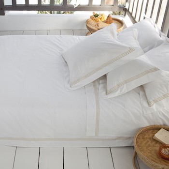 King oxford pillowcase white & almond Elba