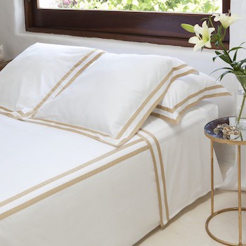 King sheet set white & honey Formentera