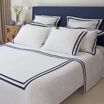 Euro King Size Sheet Set white & navy Formentera