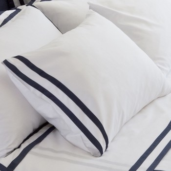 Standard Pillowcase Set White & Navy Formentera