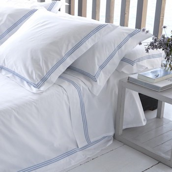 Euro oxford pillowcase white & sky Elba