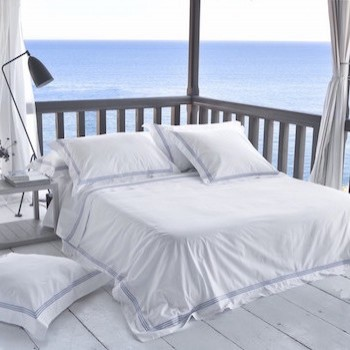 Queen flat sheet white & sky Elba