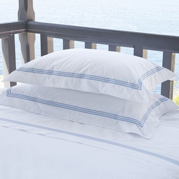 Double flat sheet white & sky Elba