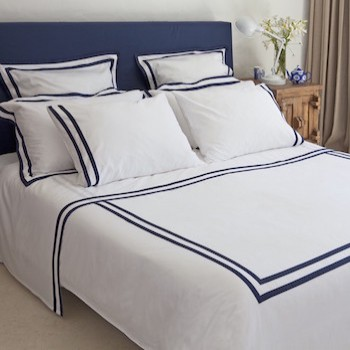 King size flat sheet white & navy Formentera