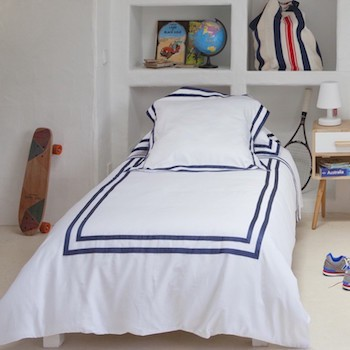 Single bed sheet set white & navy Formentera