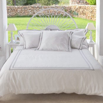 Queen Duvet cover white and ash Formentera