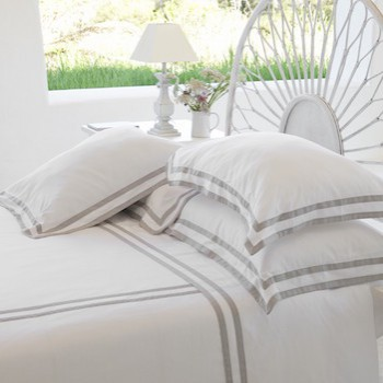 Euro king sheet set white & ash Formentera