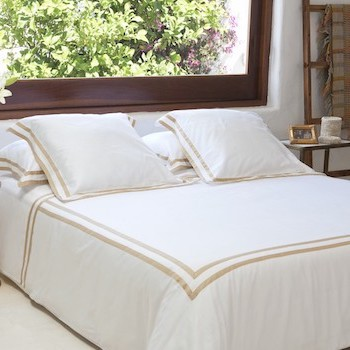 Euro King size sheet set white & honey Formentera