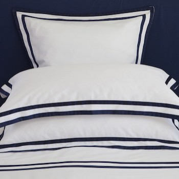 King oxford pillowcase white & navy Formentera