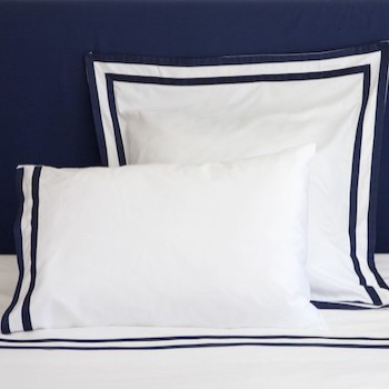 European Oxford pillowcase white & navy Formentera