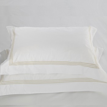 Standard oxford pillowcase white & almond Elba