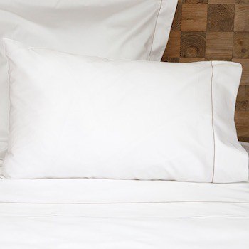 Standard Pillowcase Set White & Caramel Tremiti