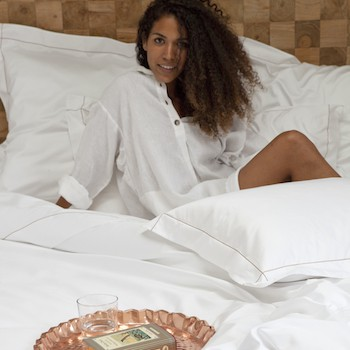 Double bed fitted sheet 100% Egyptian cotton white Tremiti