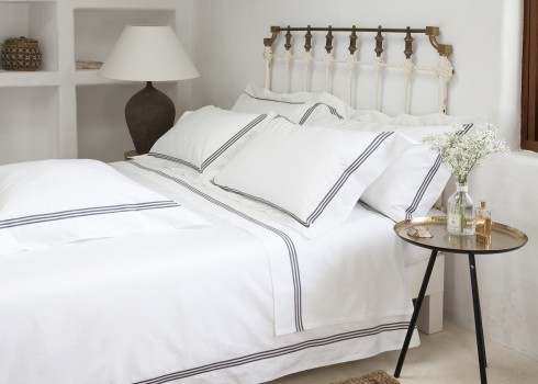 Super king flat sheet white & mink Elba