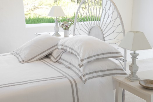 King Size Flat Sheet White & Ash Formentera
